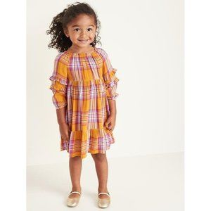 Old Navy Plaid Ruffle Tiered Dress Sz 3T